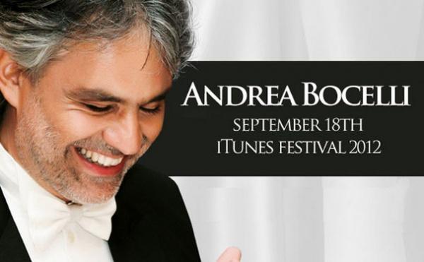 Андреа Бочелли и его концерт в рамках фестиваля iTunes 2012 года.